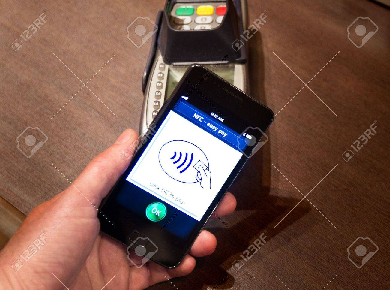 The new way to pay  NFC payments via mobile phone, etc Stock Photo - 13492000
