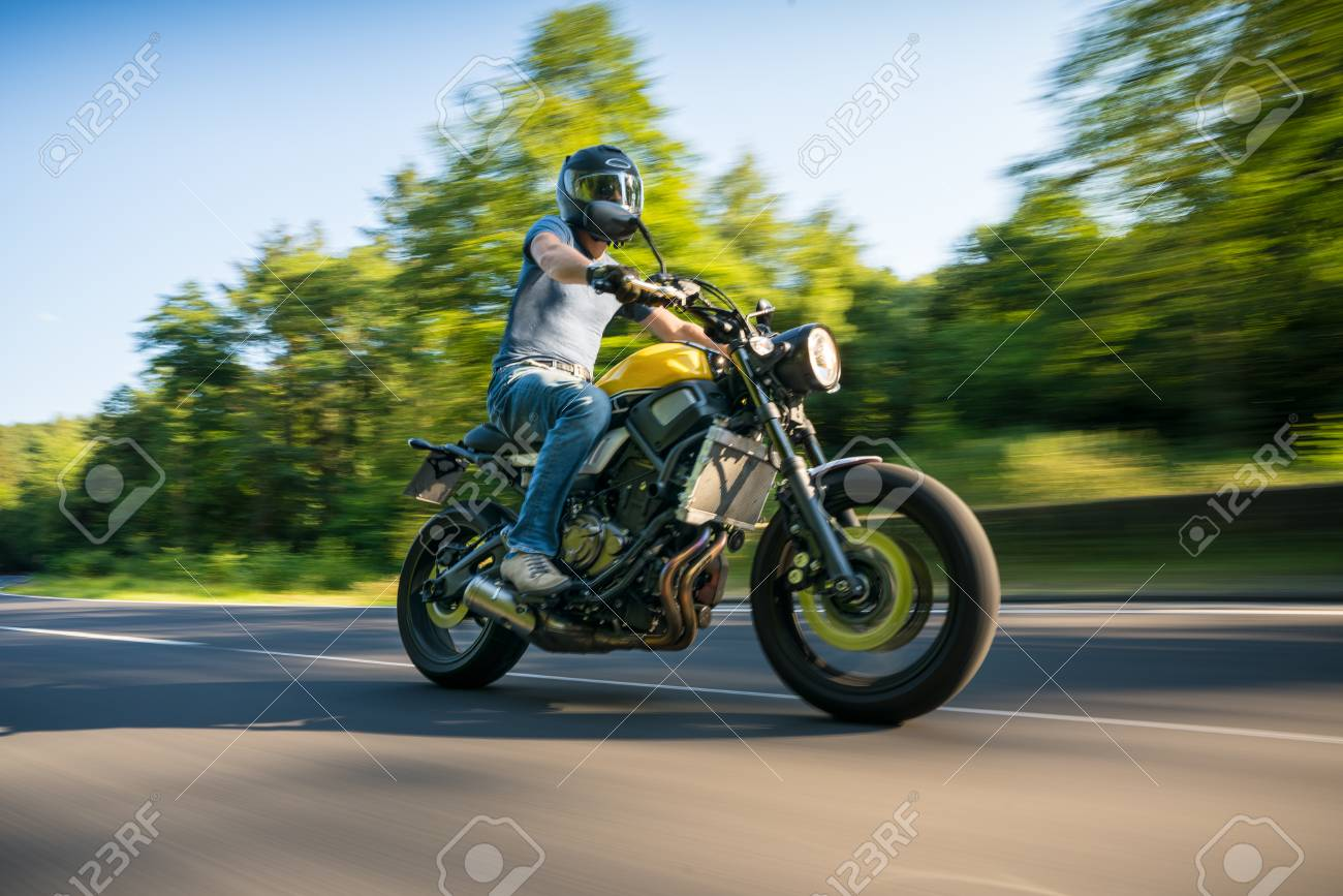 Modern Scrambler Motorbike On The Forest Road Riding Having Fun Driving Empty