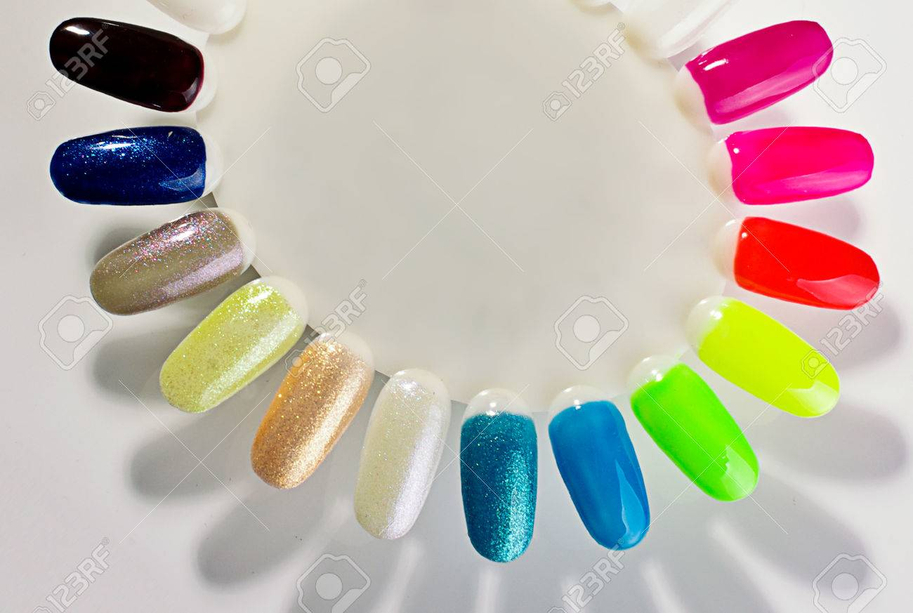 Nail polish palette bright colors