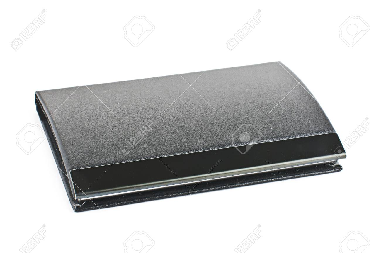 Black Leather Business Card Case Isolated On White Stock Photo ...
