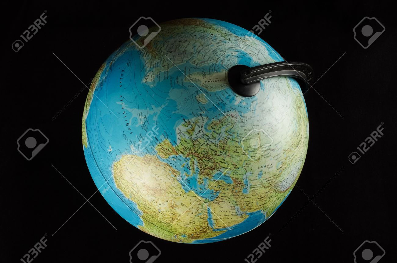 14ae97ec985d Earth globe top view isolated on the black background Stock Photo - 37565062