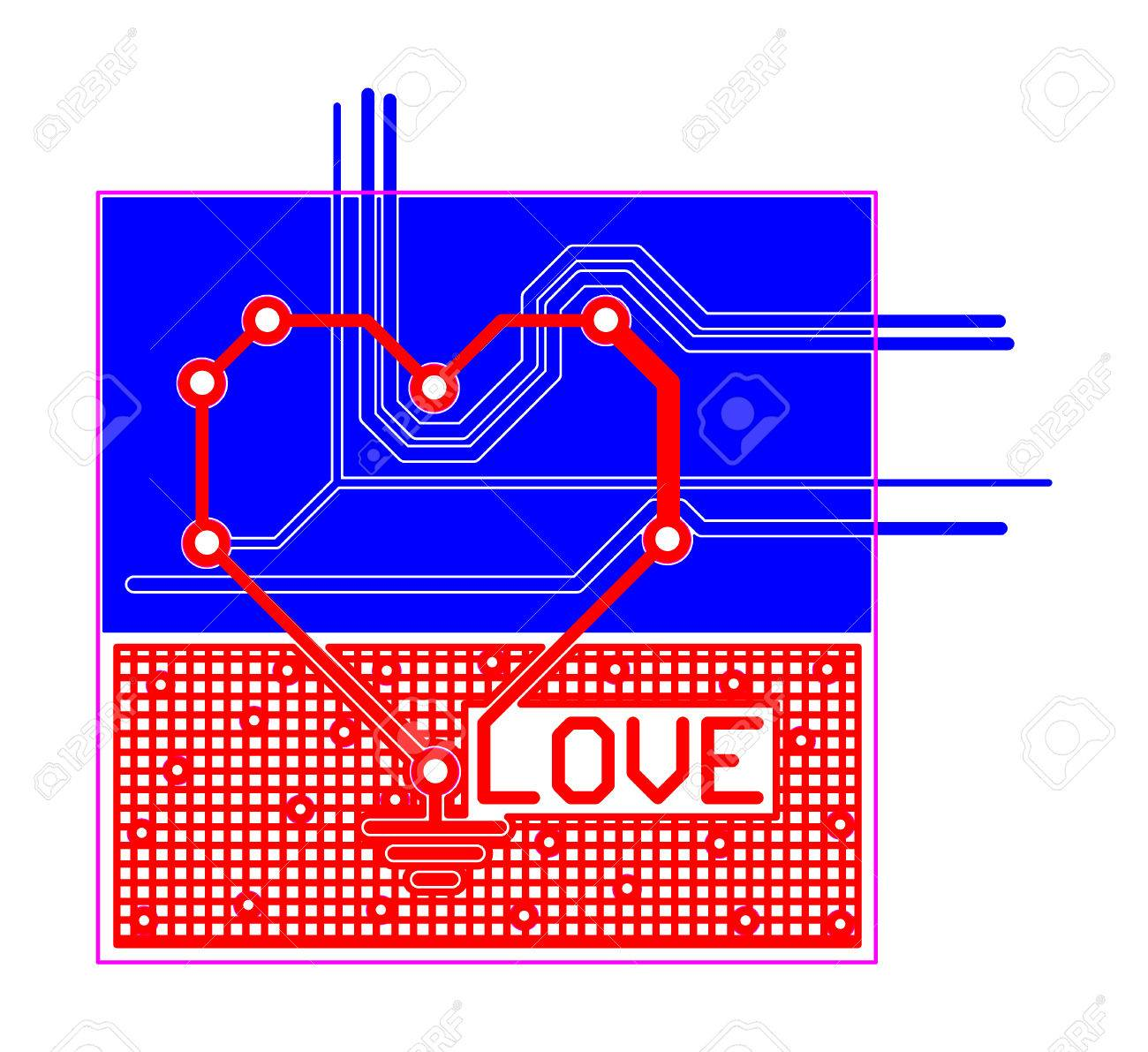 Electronic Printed Circuit Board Pcb With Heart Shape And Text Production Buy Boardpcb Love Stock Photo 51432586