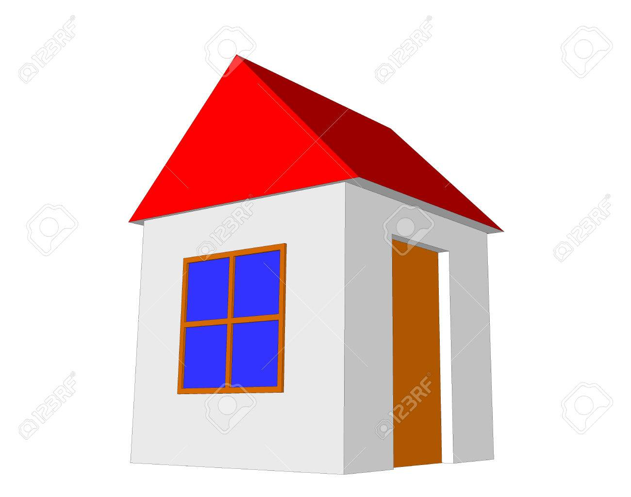 3d simple house model isolated on the white background stock photo 53236366
