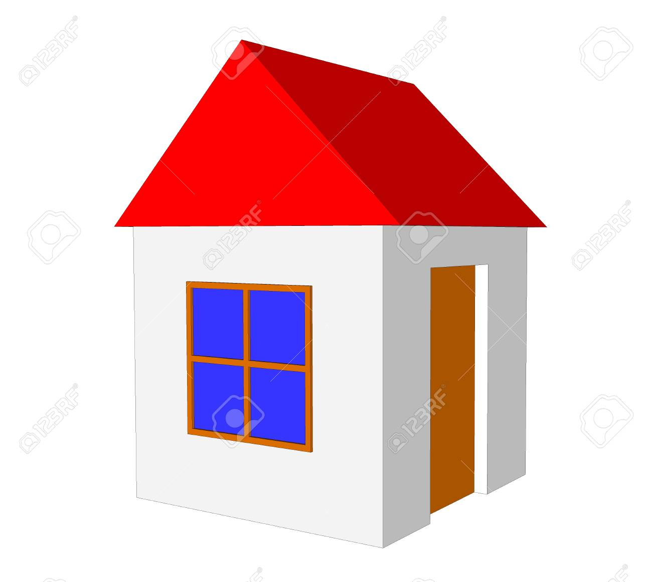 3d Simple House Model Isolated On The White Background