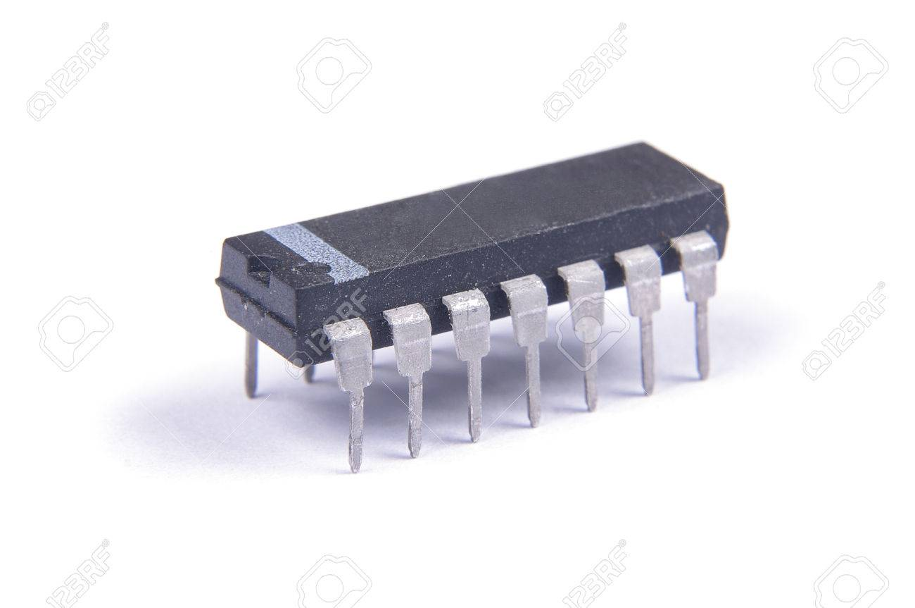 Integrated Circuit In Dip Package Isolated On The White Background An Stock Photo 57299090