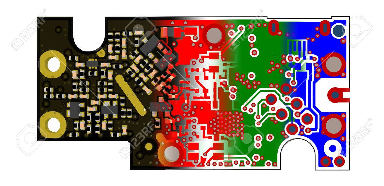 PCB design concept 3D PCB view blended with gerber files of inner