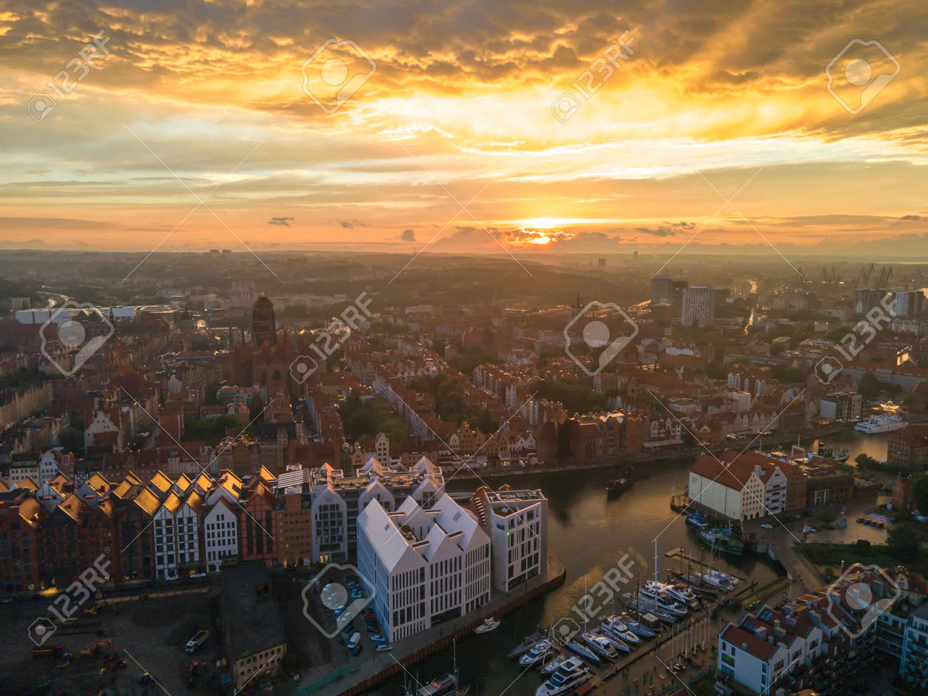 Aerial sunset view of the amazing old town of Gdansk (Poland), member of Hanseatic League with ships and yachts in the river - 159938178