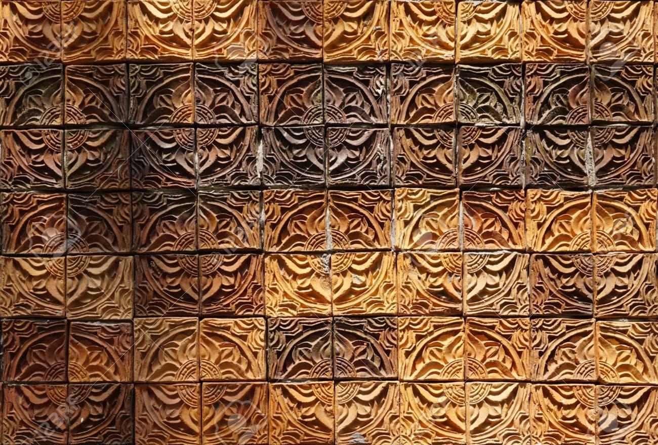 wall elevation detail of the flower shape decorative orange tone