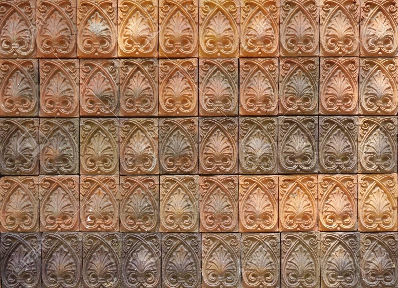 Elevazione parete particolare delle piastrelle arancione