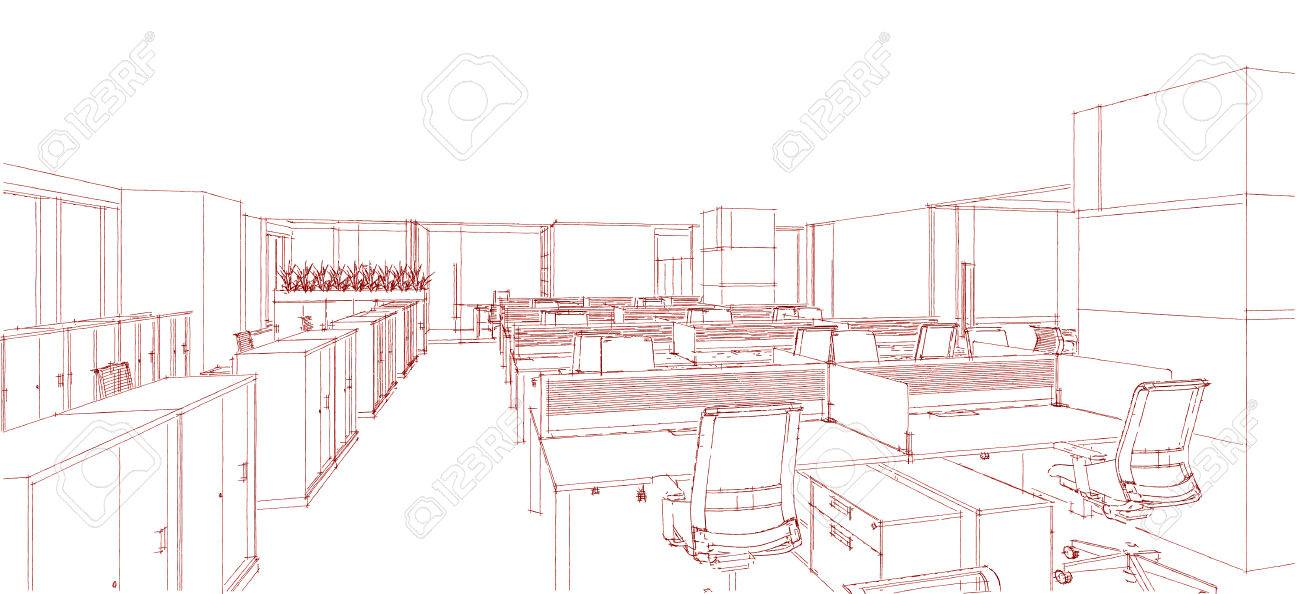 modern interior office stock. sketch line from computer generation of the modern interior office in red on white background stock