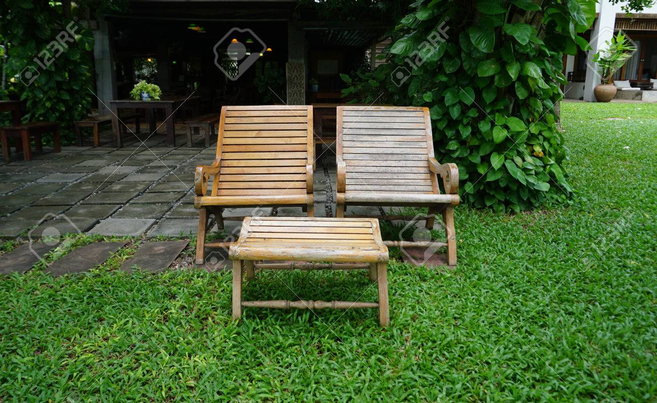 Peachy Outdoor Reclining Timber Benches In The Tropical Garden Short Links Chair Design For Home Short Linksinfo