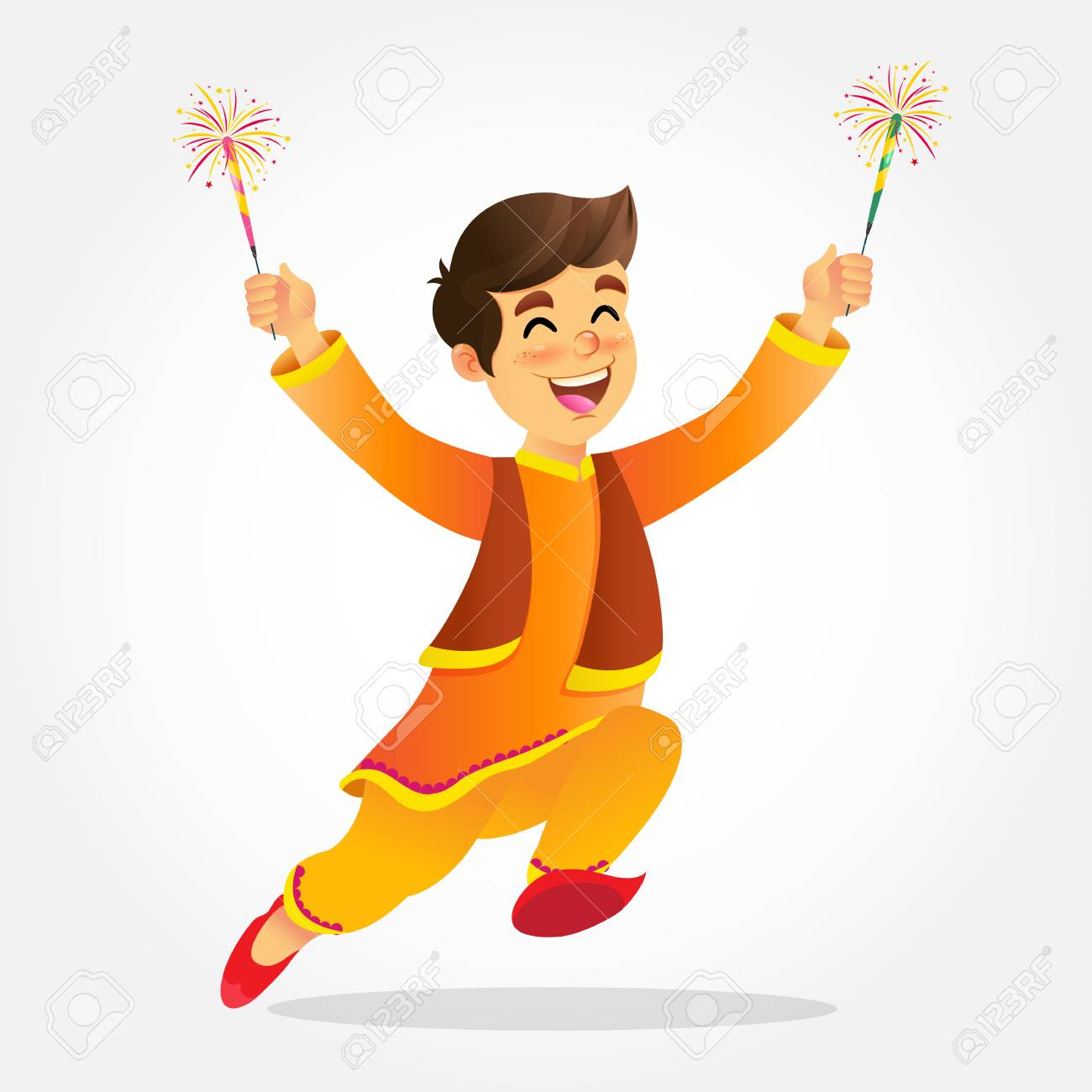 f2fe6eb0c Cute cartoon indian boy in traditional clothes jumping and playing with  firecracker celebrating the festival of