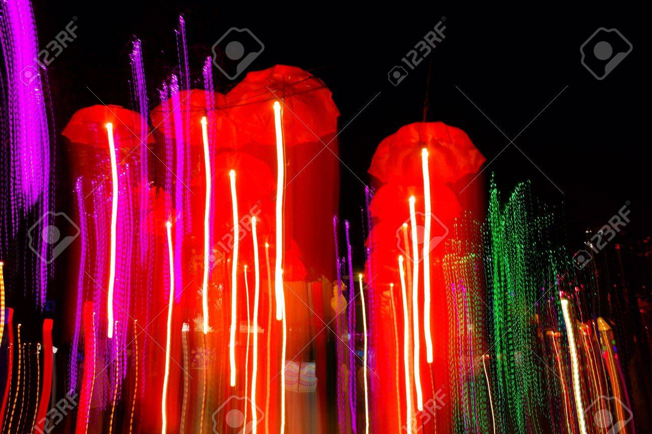 Speed Light Of Colorful Umbrella Like Jellyfish Stock Photo, Picture ...