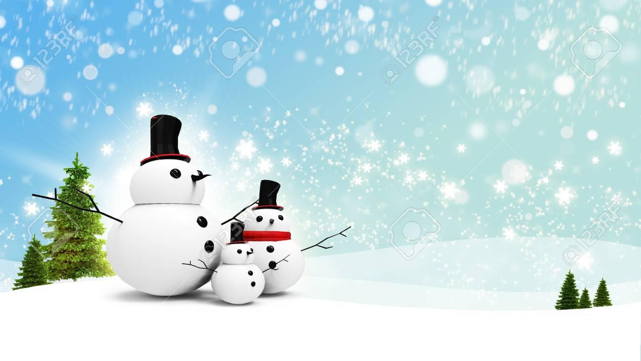 Stella Di Natale Luce.Famiglia Pupazzo Di Neve Con La Stella Di Luce In Giorno Di Natale