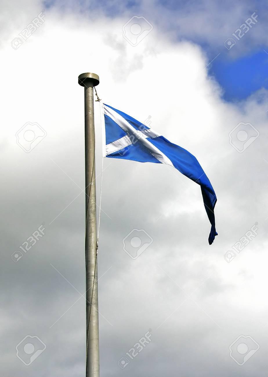 scottish saltire pennant flying at athelstaneford scotland
