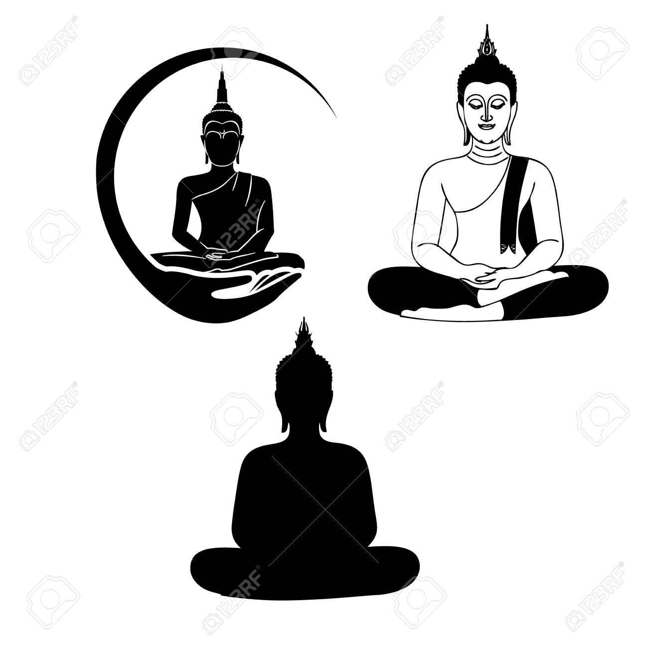 Three black and white buddha icon stock vector 106154083