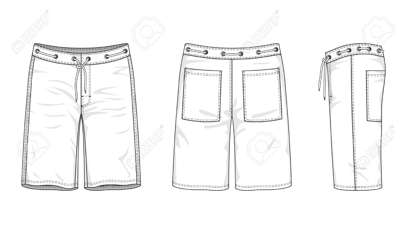 illustration of men s swimwear of front, back and side views - 18155639