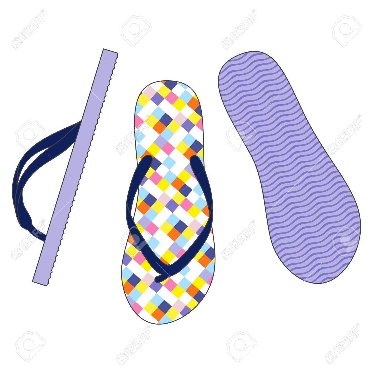 9b484bbb35ea Vector Set Of Colorful Flip Flops Illustration Royalty Free Cliparts ...