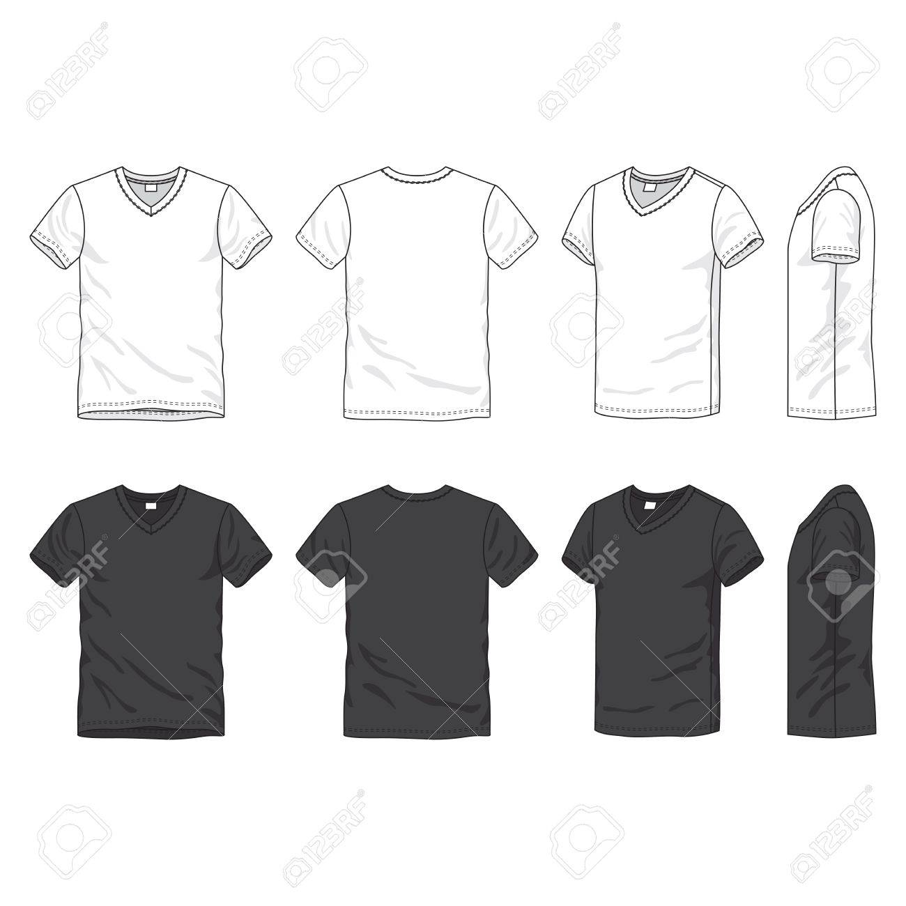 Front, back and side views of blank t-shirt Stock Vector - 18147580