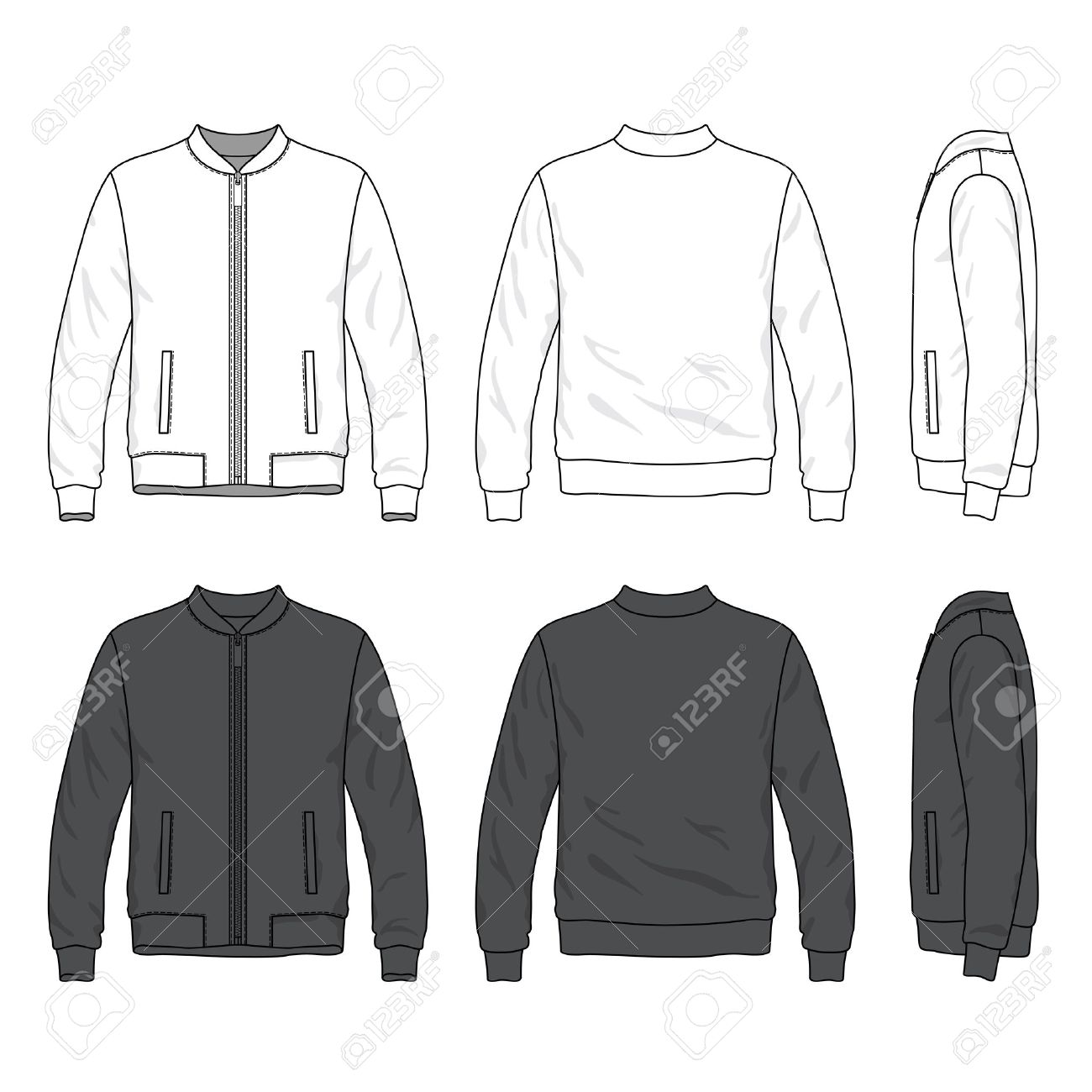 Front Back And Side Views Of Blank Bomber Jacket With Zipper