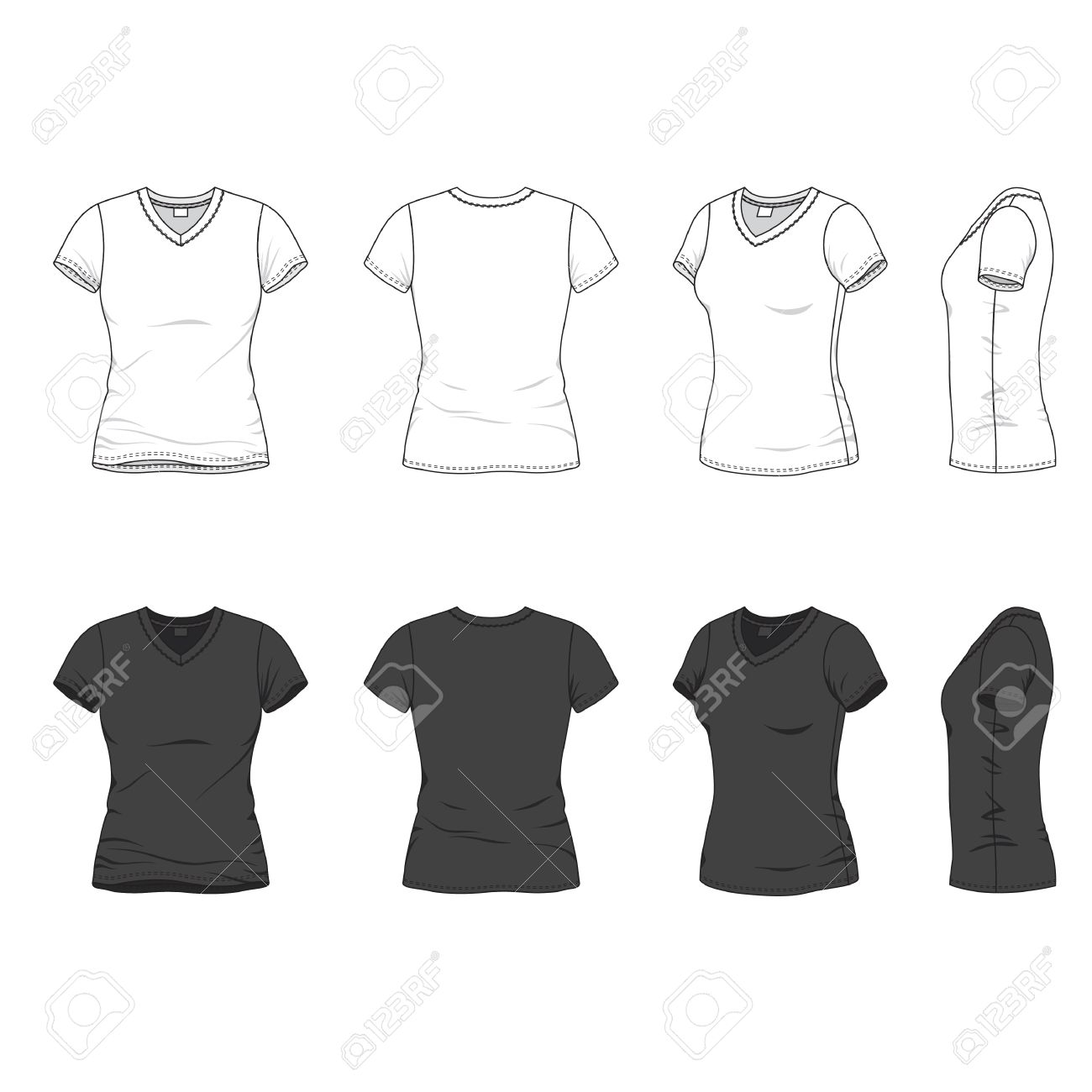 ec1cba7bcafe Vector illustration. Isolated on white. Front, back and side views of blank  women's v-neck t-shirt.