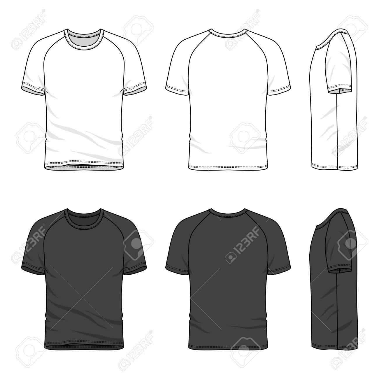 Manga de raglán de la camiseta de los hombres en blanco delante, atrás y lateral. Ilustración del vector. Aislado en blanco.