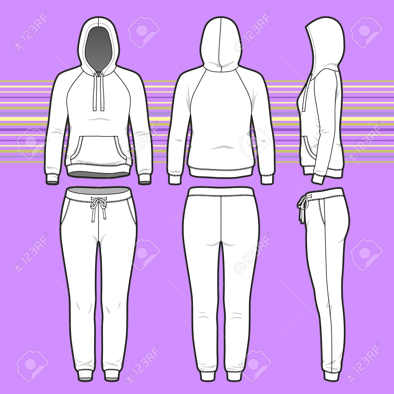 Front Back And Side Views Of Women S Clothing Set Blank Templates Royalty Free Cliparts Vectors And Stock Illustration Image 35934187