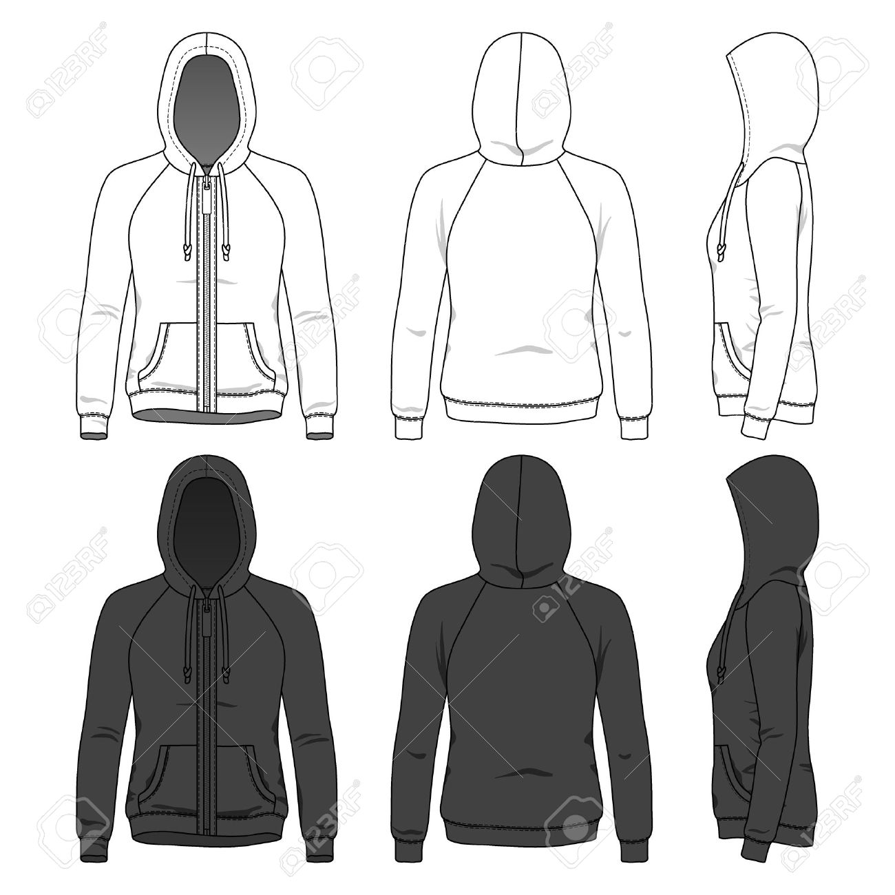 Womens hoodie with zipper and raglan sleeves in front back womens hoodie with zipper and raglan sleeves in front back and side views blank pronofoot35fo Choice Image