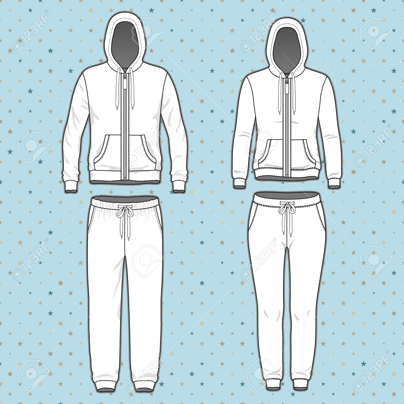 front view of men s and women s clothing set blank templates