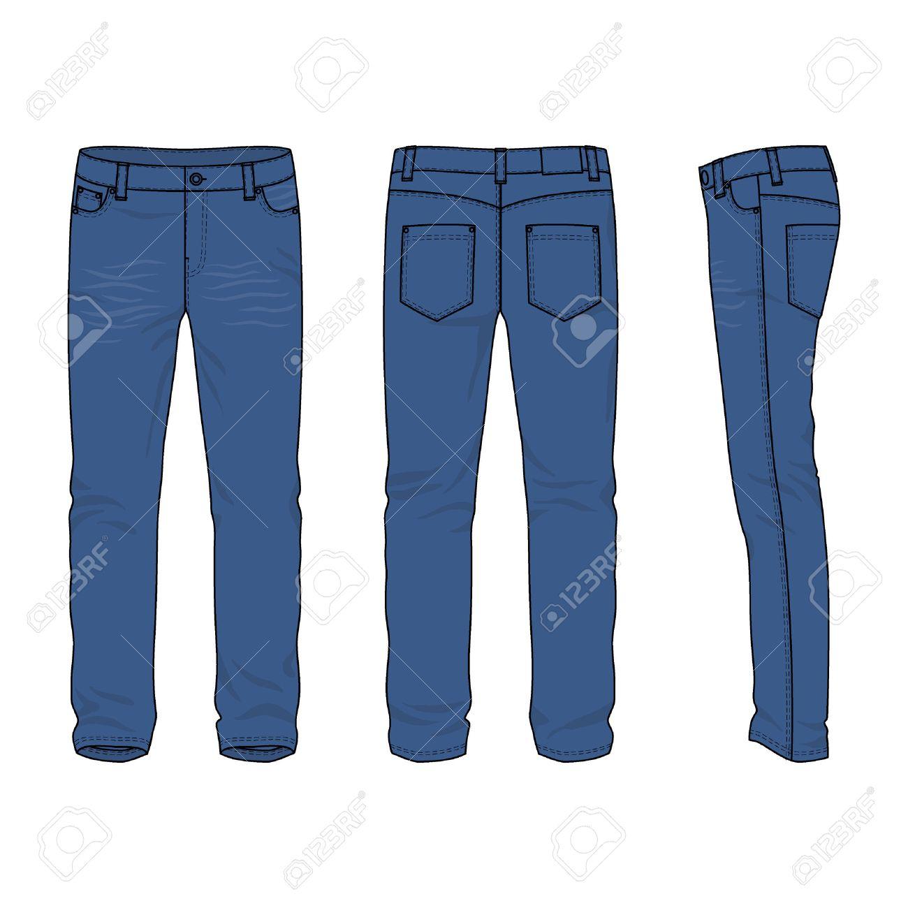 gran selección de 17792 46502 Frontal, posterior y lateral de los pantalones vaqueros de los hombres en  blanco. Ilustración del vector. Aislado en blanco. Estilo casual. ...