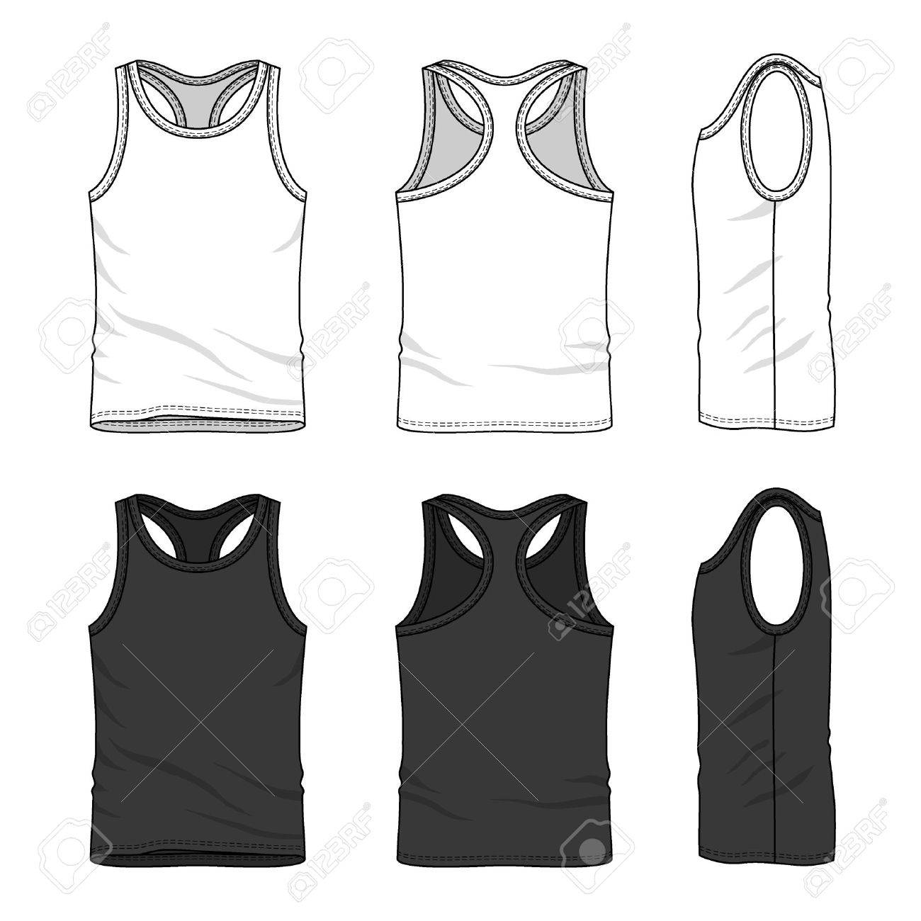 Men S Tank Top In Front Back And Side Views Blank Templates