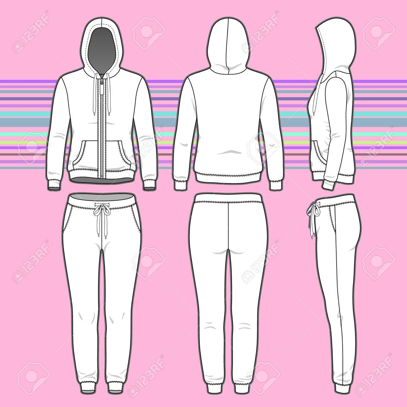 Front Back And Side Views Of Women S Clothing Set Blank Templates Royalty Free Cliparts Vectors And Stock Illustration Image 37244844