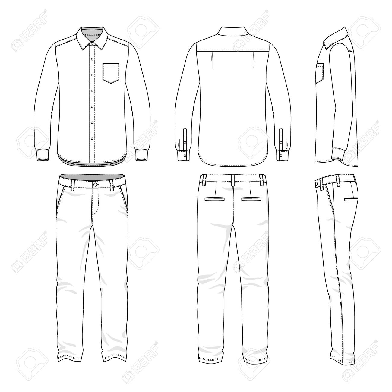 Vector Illustration For Your Fashion Design. Front, Back And Side Views Of  Menu0027s Set. Blank Templates Of Shirt And Pants