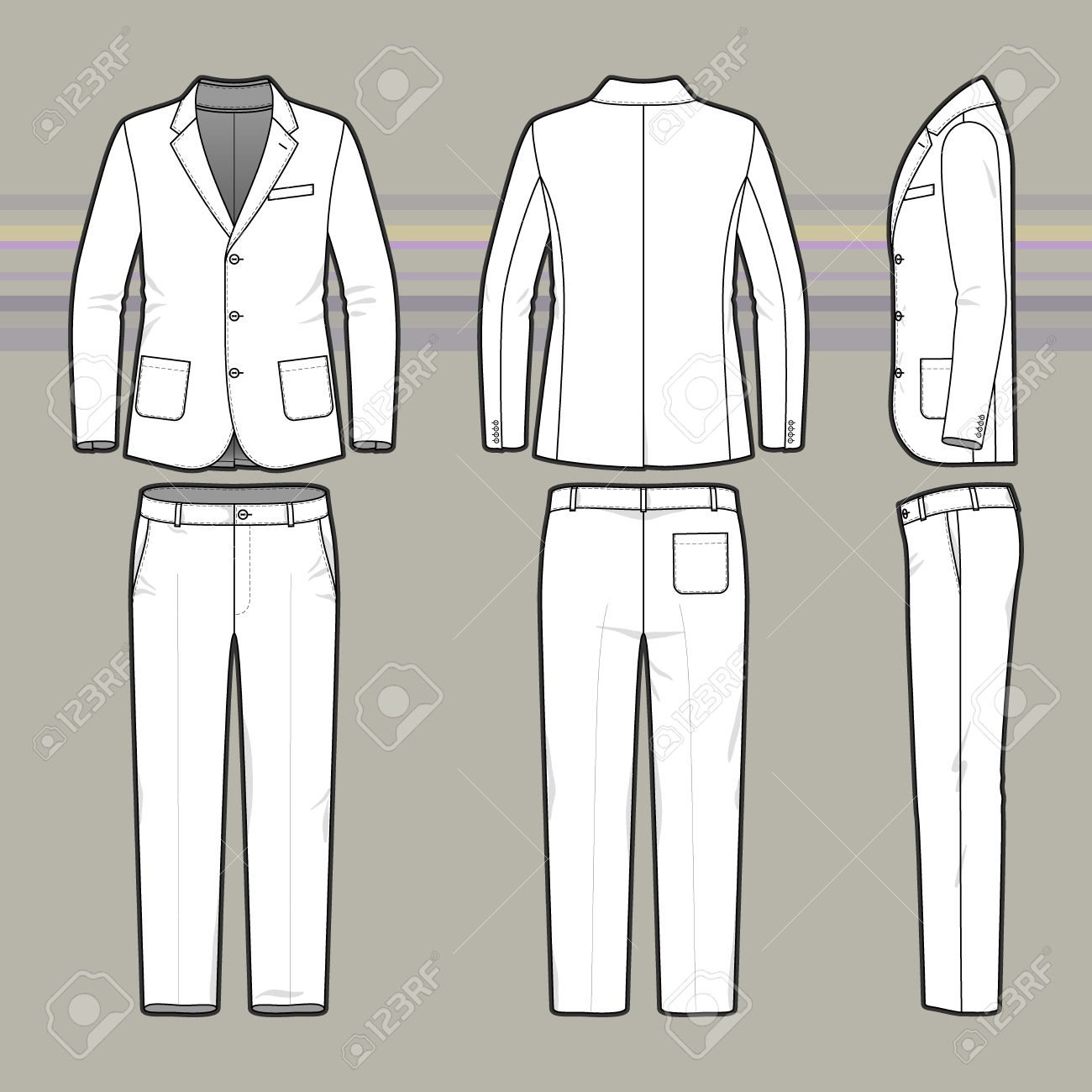 blank template of classic blazer and pants in front