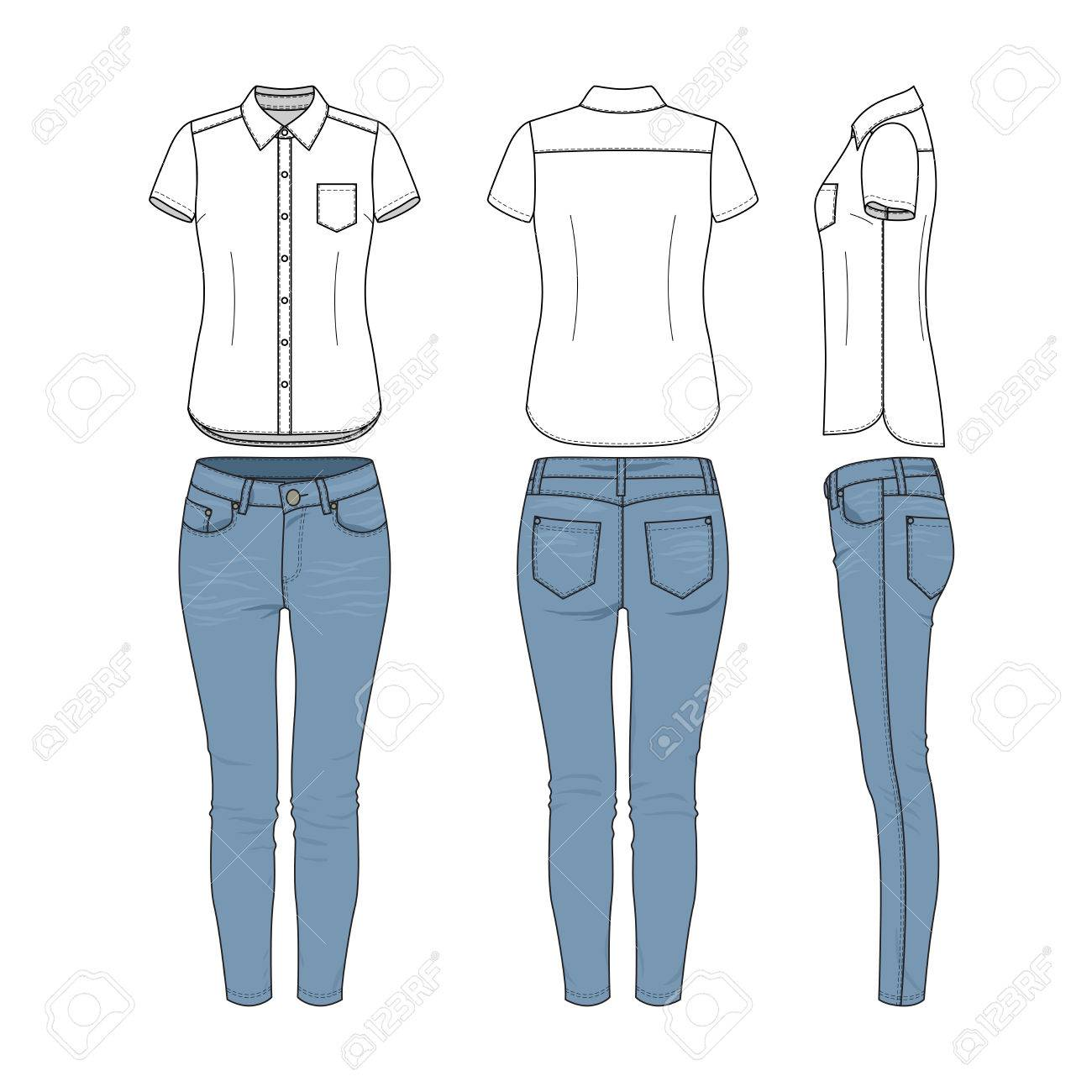 Female Clothing Set Of White Shirt And Blue Jeans Vector Templates Royalty Free Cliparts Vectors And Stock Illustration Image 76434614