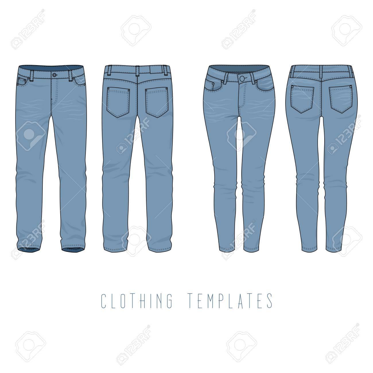 1d1e2350a Ropa masculina y femenina conjunto de blue jeans. Vector plantillas en el  frente, las vistas de atrás para el diseño de moda en estilo urbano. ...