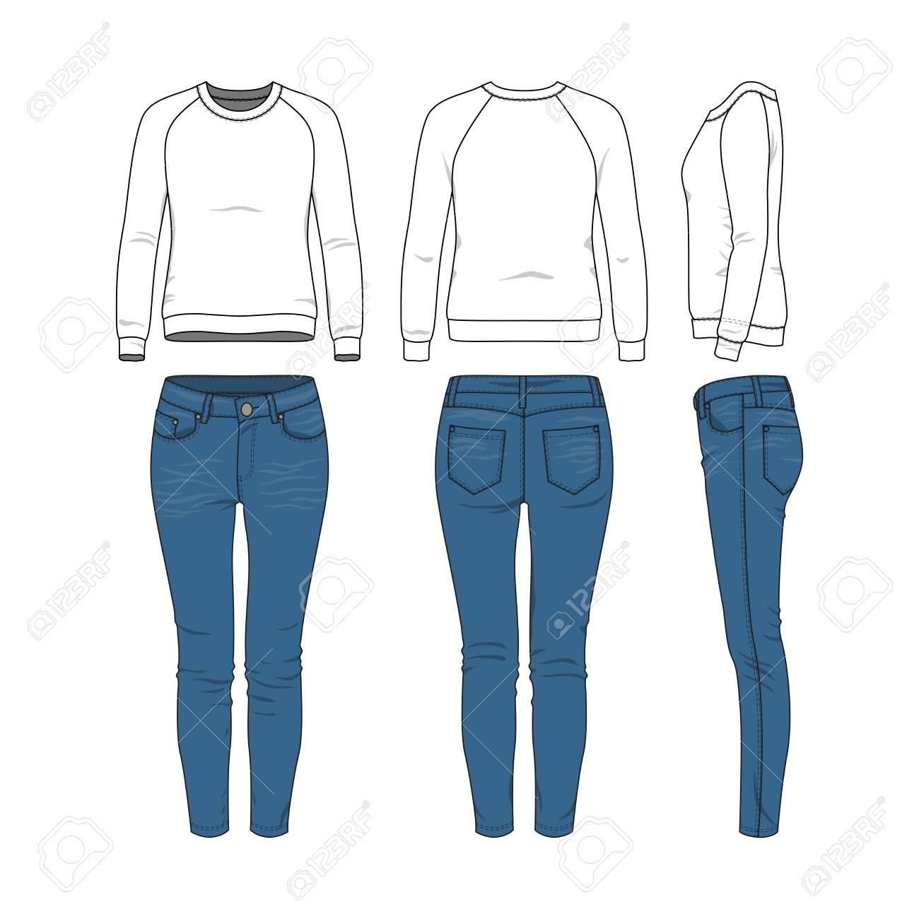 477ea4cae Sudadera Raglan Básica Blanca, Jeans. Plantillas De Ropa De Vector En Blanco  Para El Diseño De Moda En Estilo Urbano O Hipsters Moderno. Aislado ...