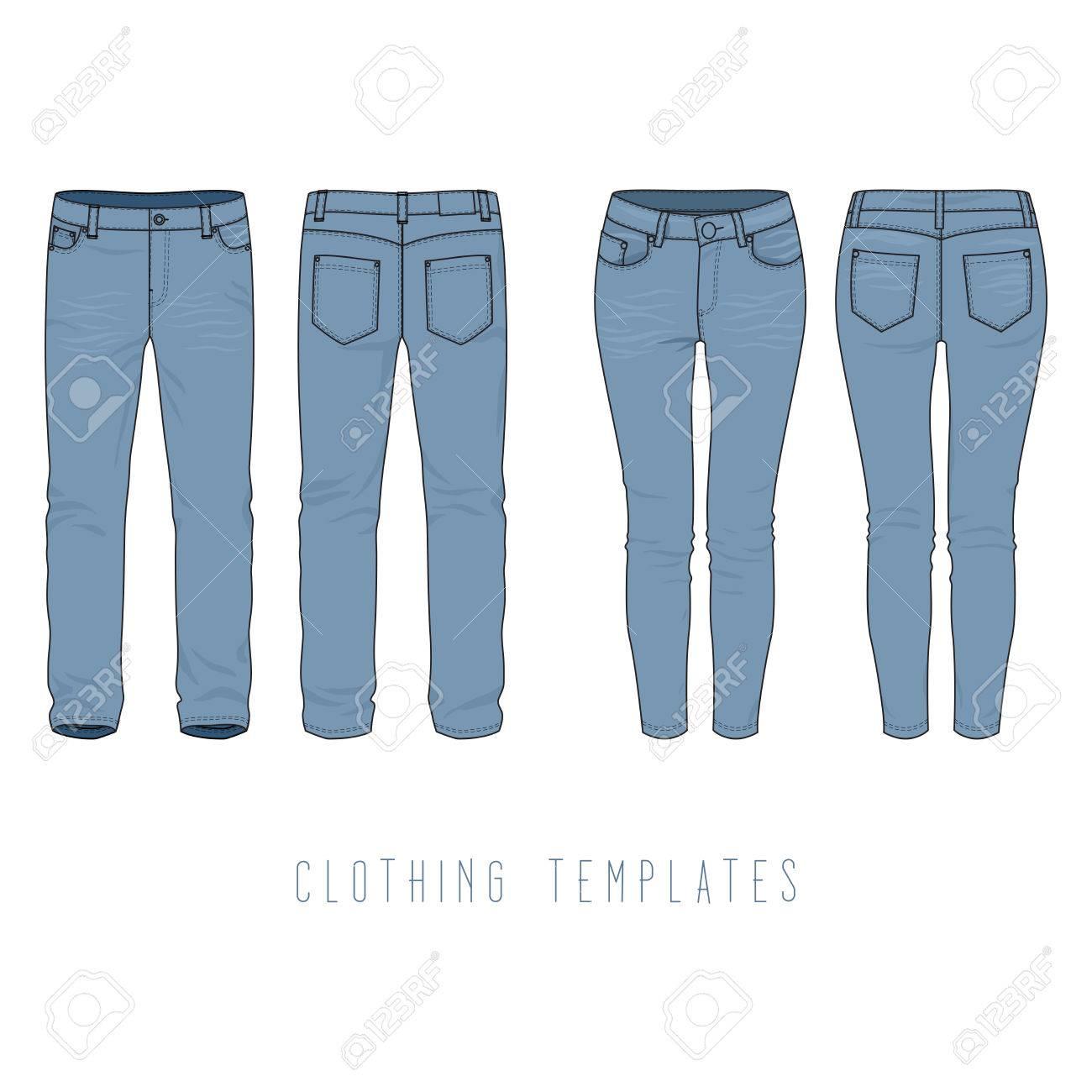 Männliche Und Weibliche Kleidung Satz Von Blue Jeans. Vector ...