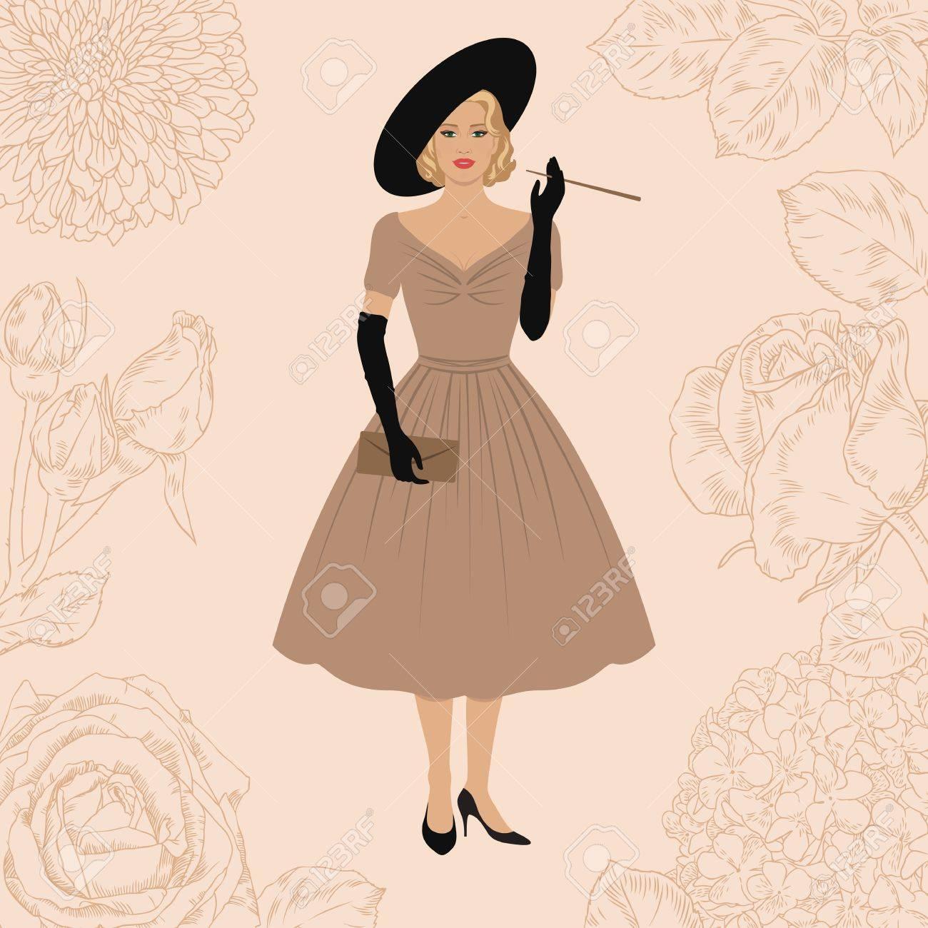 Banque d images - Femme élégante habillée dans le style New look. Mode des années  1950 Fumer Lady. Fond floral. Style rétro. 566ba51a2299