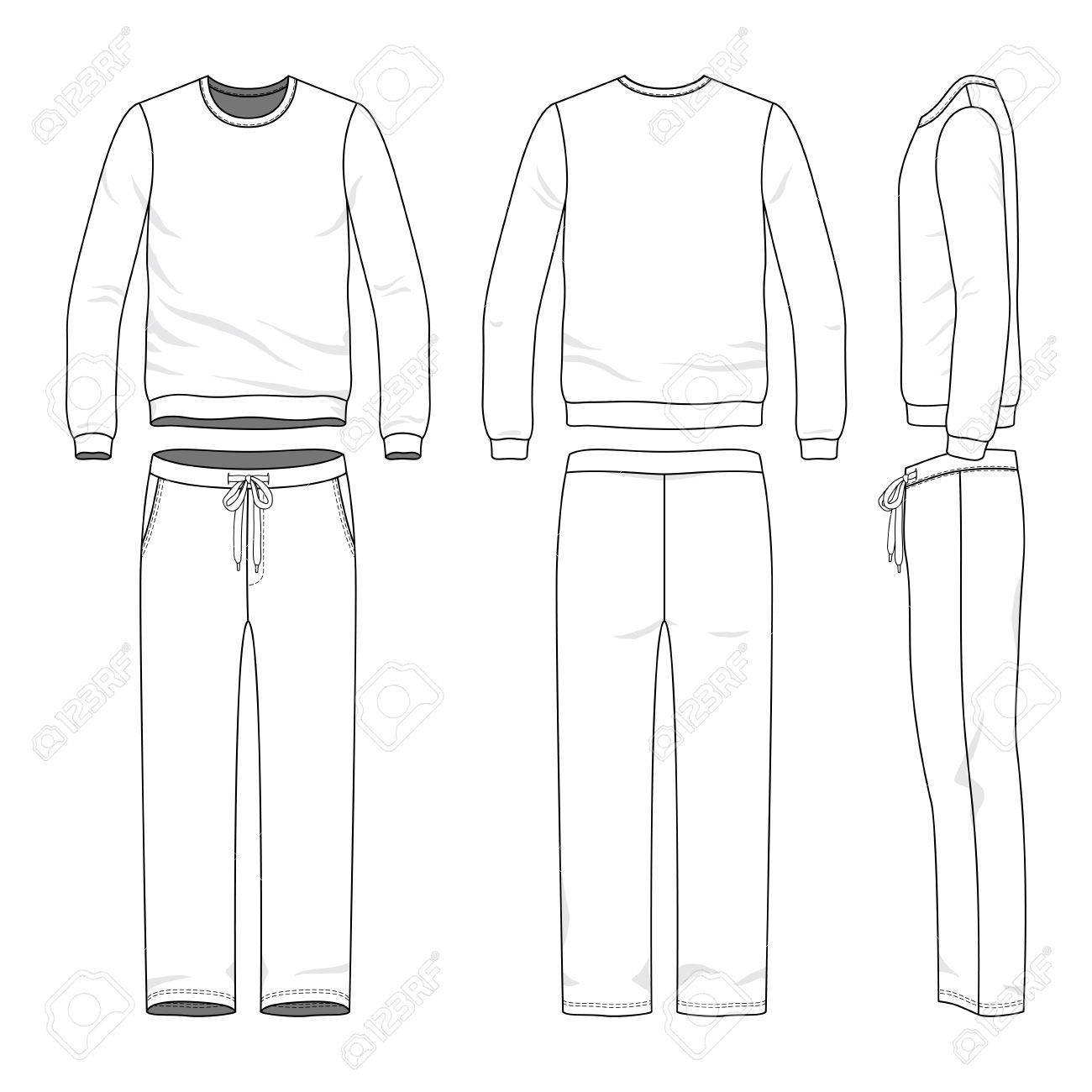 Male track suit  Blank vector templates of sweatshirt and sweatpants