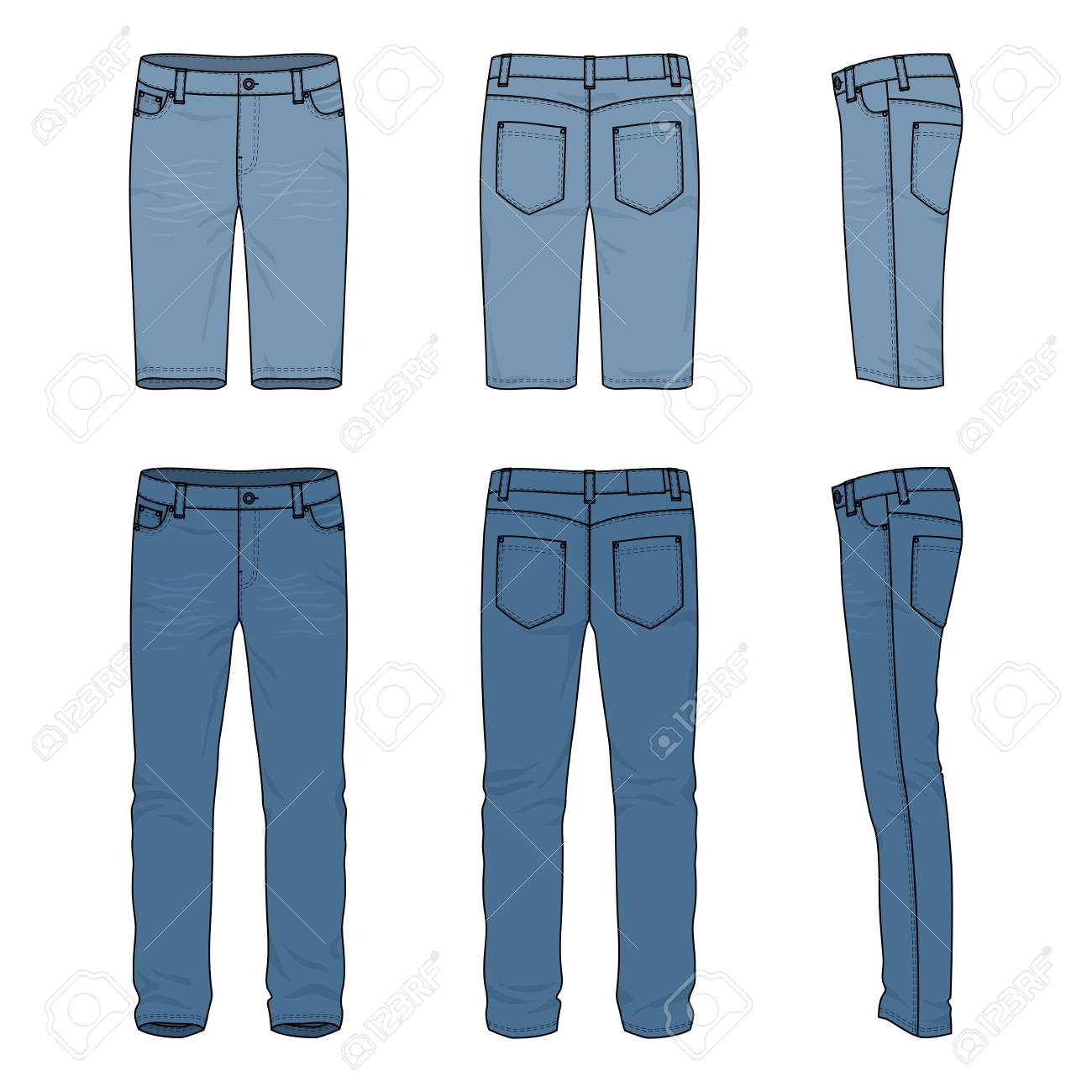 blank vector templates of male jeans and shorts front back stock