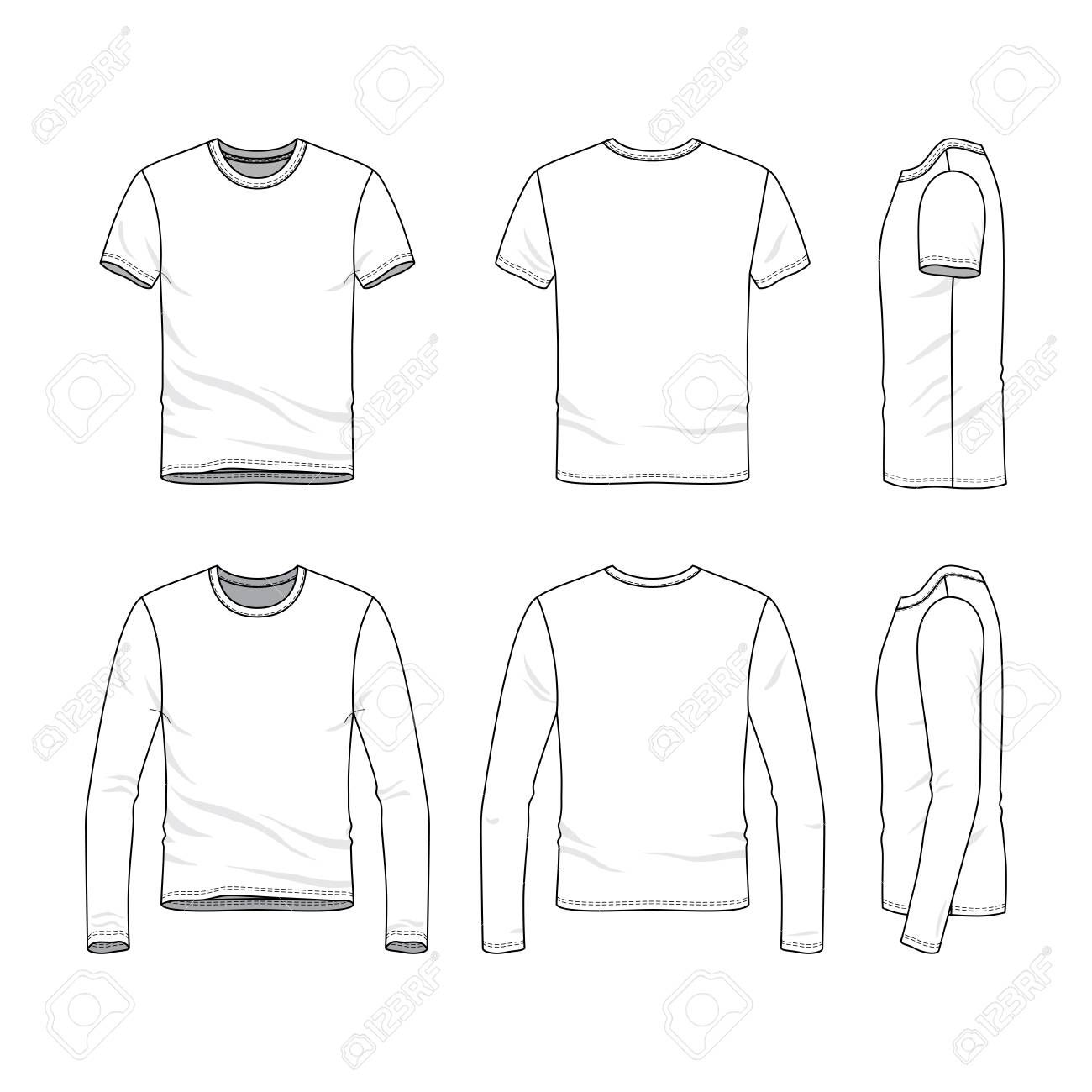 Vector Clothing Templates Blank Shirts With Short And Long Sleeves