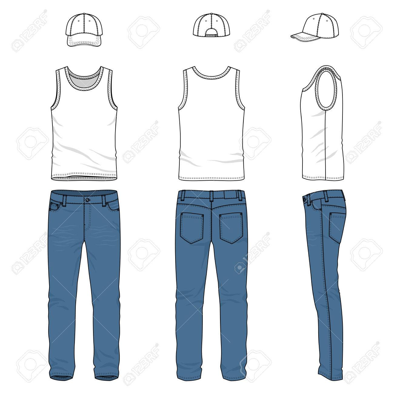 front back and side views of male clothing set blank vector