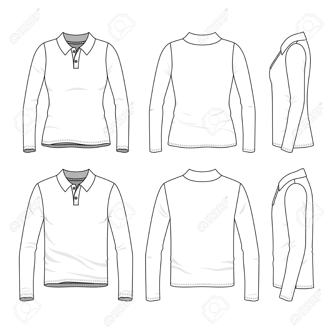 afce89fa6dd Front, back and side views of clothing set. Blank vector templates of male  and