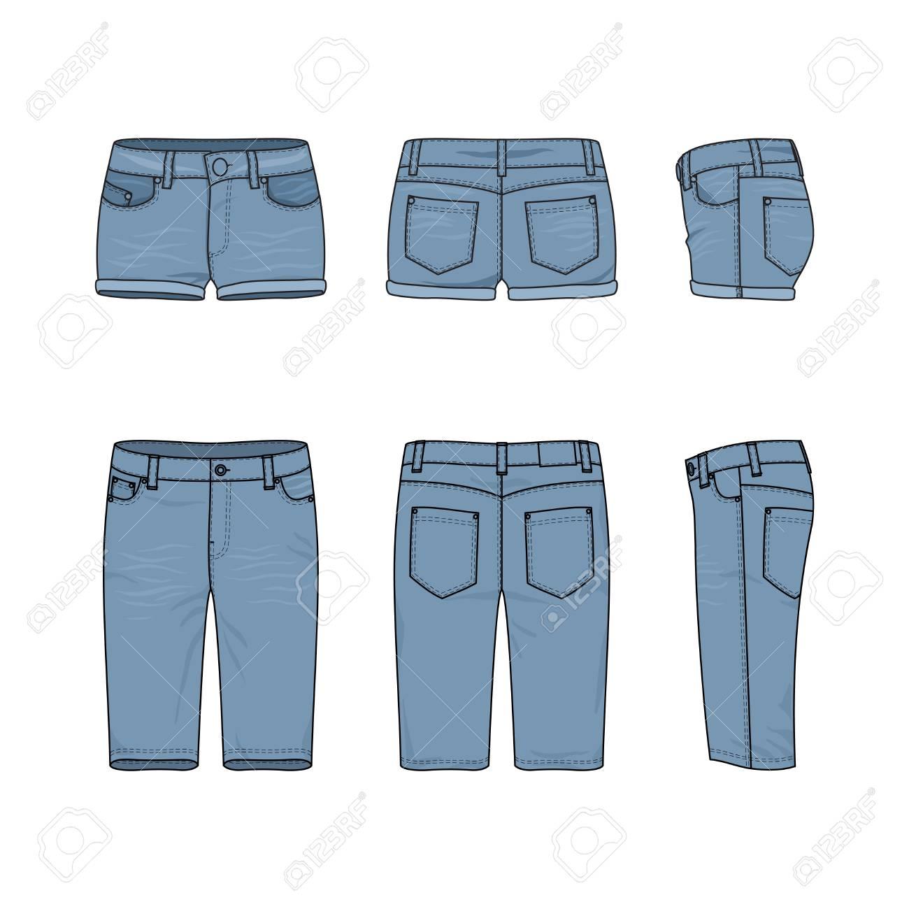 男性と女性のジーンズのショート パンツの空ベクトル テンプレート前面