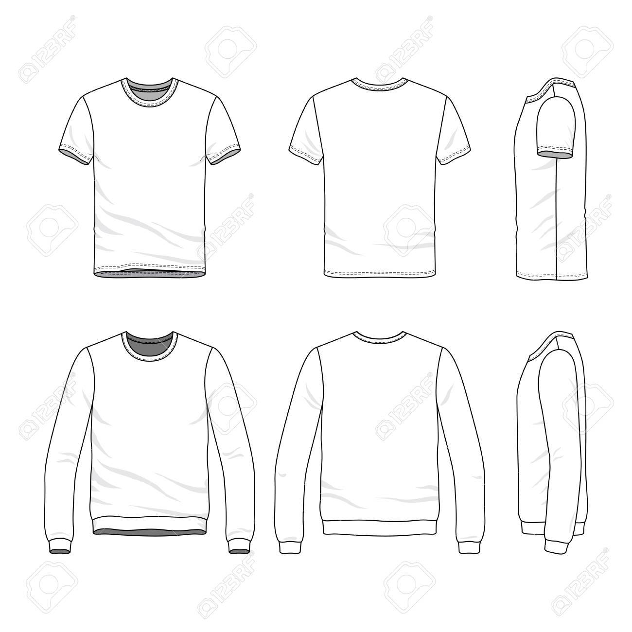 Vector Clothing Templates Blank T Shirt And Sweatshirt Fashion
