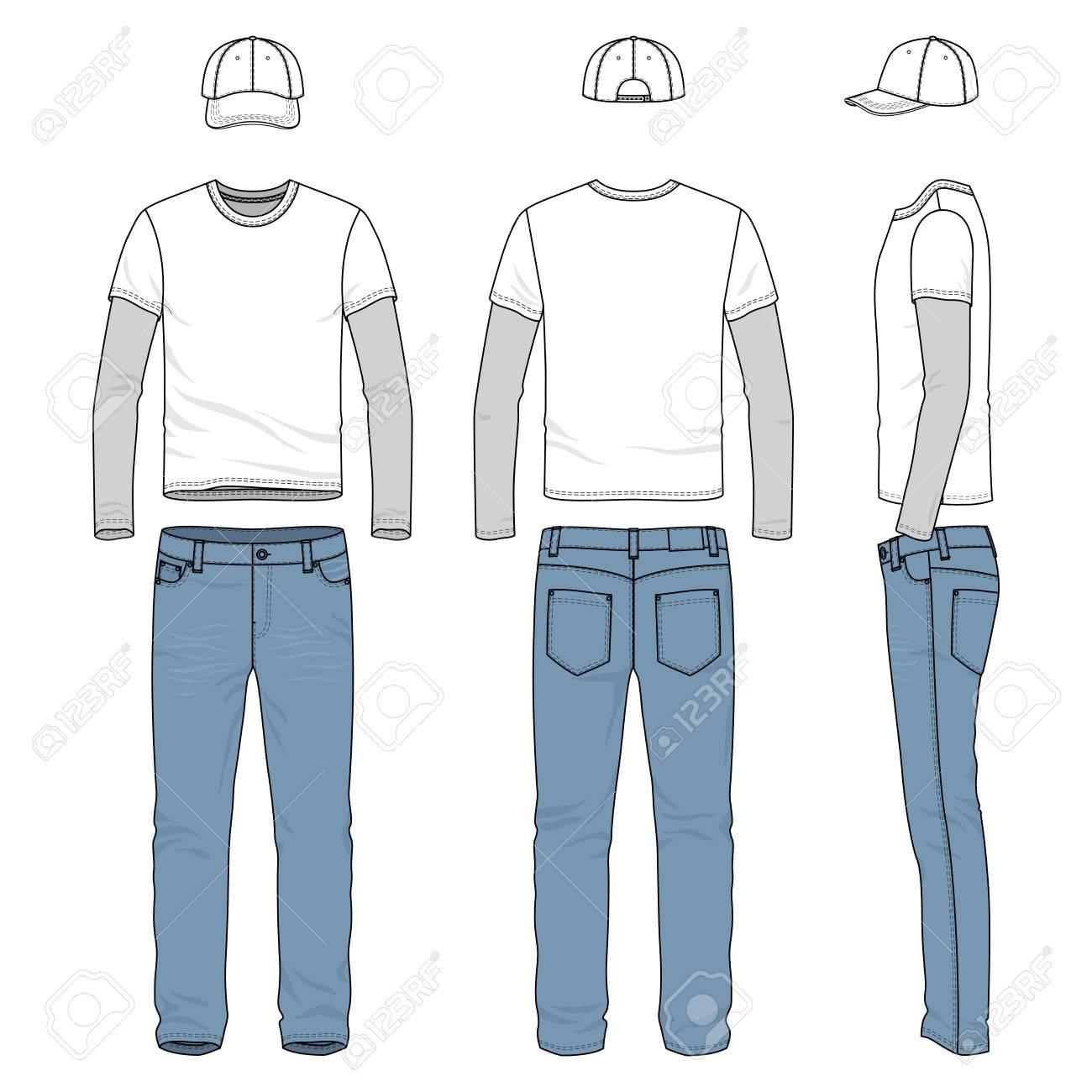 Front-, Rücken- Und Seitenansichten Der Männlichen Abnutzung. Blank ...