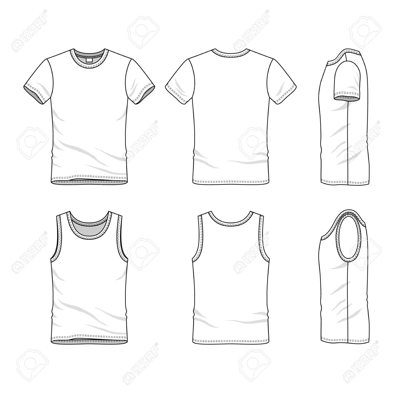 Male Clothing Set Blank Vector Templates Of White T Shirt And