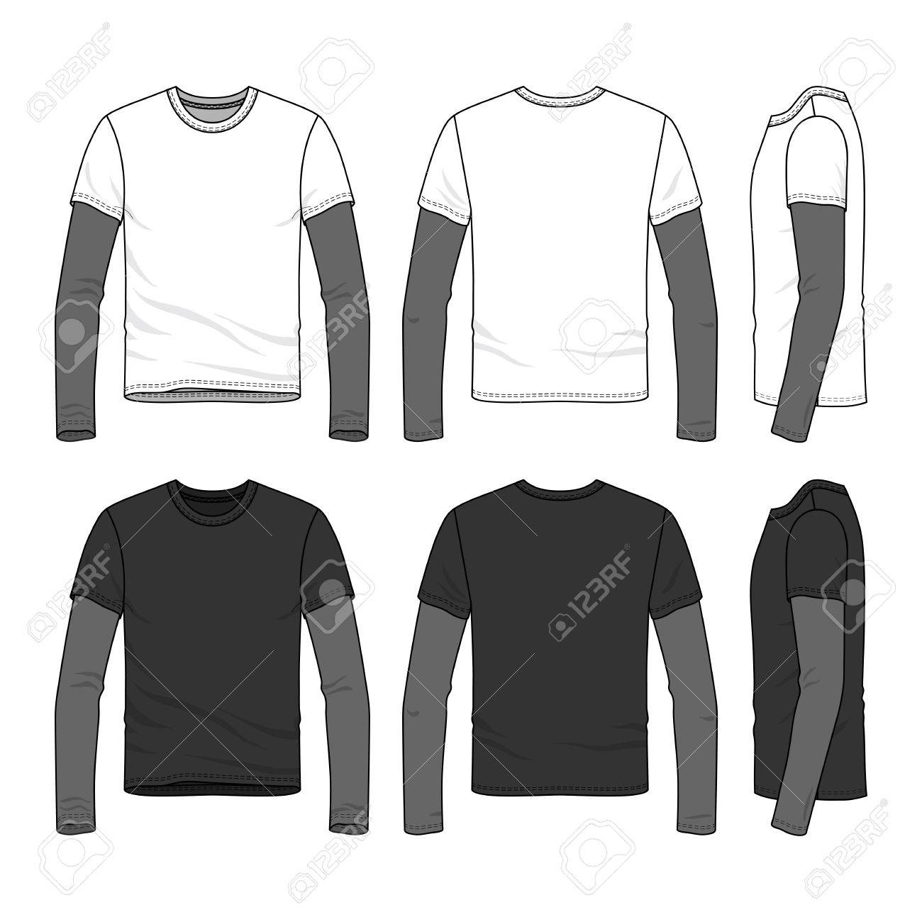 bad0c6939b Sport long sleeved t-shirt with layered sleeve. Blank vector..
