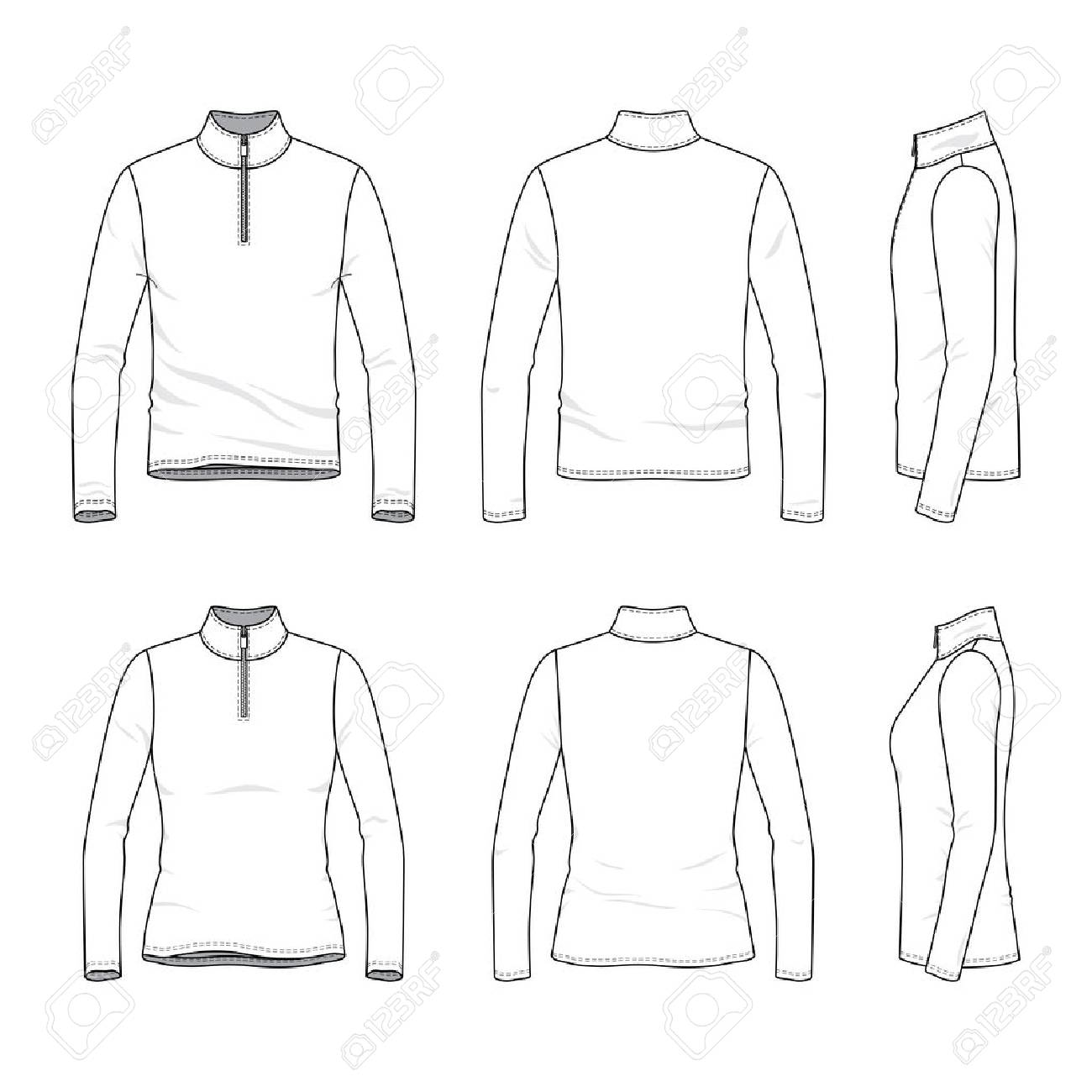 266c28e08f6 Front, back, side views of long sleeved t-shirt with zipper. Male
